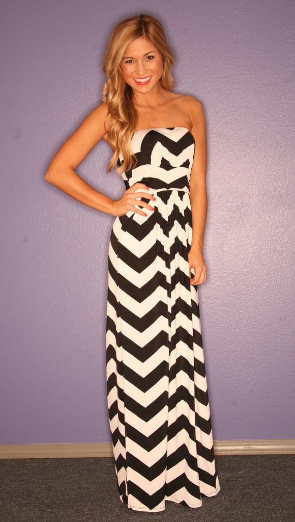 Strapless Chevron Long Maxi Dresses